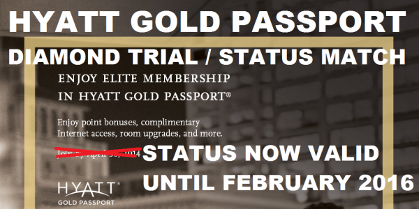Hyatt Gold Passport Diamond Status Match Trial May 2014