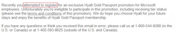 Hyatt Gold Passport Microsoft Upgrade Revoked Email Text