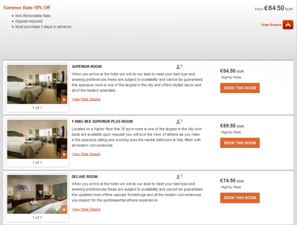 IHG Europe Summer 2014 50 Percent Off July 18 September 28 2014 IC Athens Rates