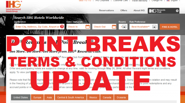 IHG Rewards Club Point Breaks Terms and Conditions Change