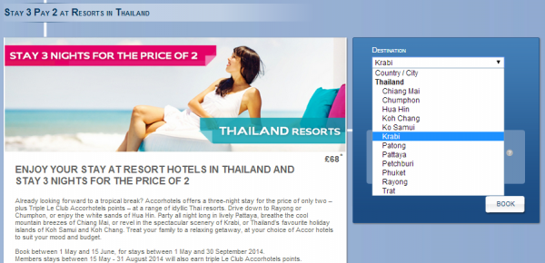 Le Club Accorhotels Thailand Resort 3 For 2 Triple Points Sale