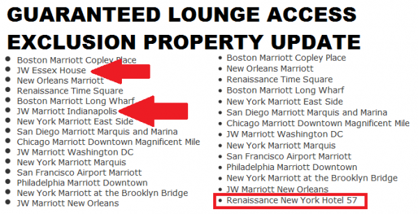 Marriott Rewards Guaranteed Lounge Access Exclusion List