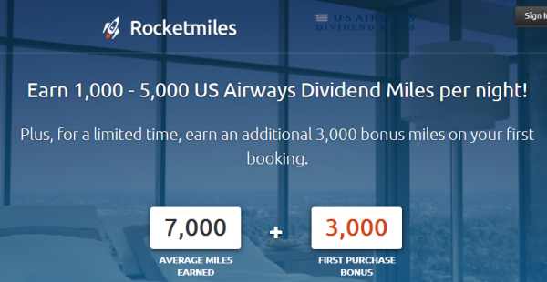 Rocketmiles US Airways Dividend Miles 3,000 Bonus Miles