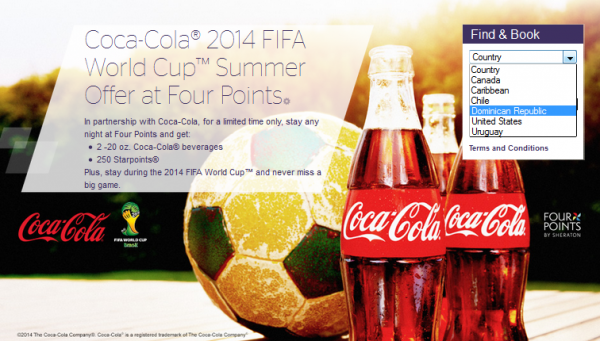 SPG Four Points Fifa Coca Cola 250 Bonus Starpoints May 1 July 15 2014