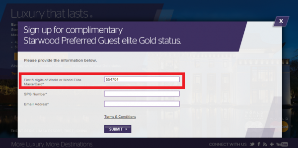 Starwood Preferred Guest Gold World MasterCard