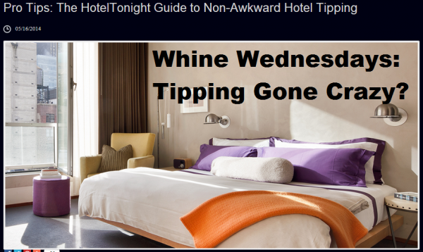 Whine Wednesdays Hotel Tipping