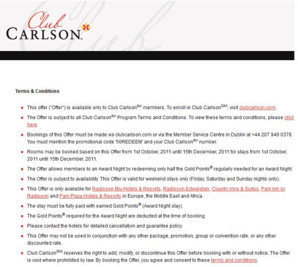 Club Carlson EMEA Offer - 50REDEEM