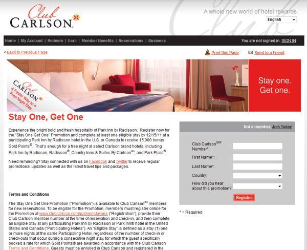 Club Calrson Logo Park Inn 15000 Bonus Points Offer