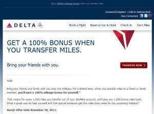 Delta Air Lines November Transfer Bonus