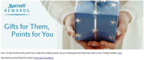 Marriott Gift Card Offer 10 Marriott Reward Points Per Dollar