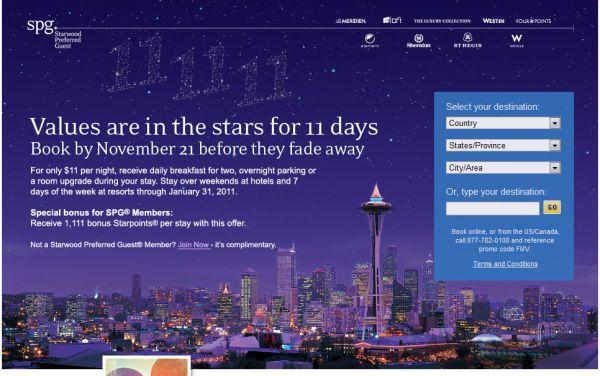 Starwood Preferred Guest 1111 Promotion