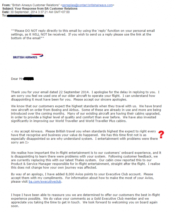 Compensation Clinic British Airways Reply