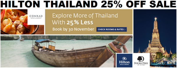 Hilton HHonors Thailand 25 Percent Off Sale