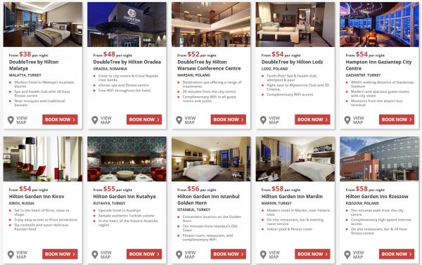 Hilton HHonors UK & Europe Weekends Flash Sale Fall 2014 Price Grid 1