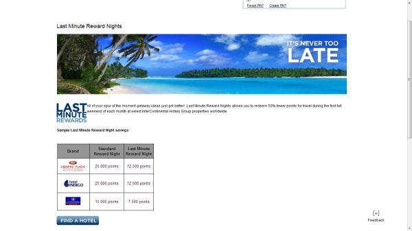 InterContinental Hotels Group Last Minute Reward Nights Promotion