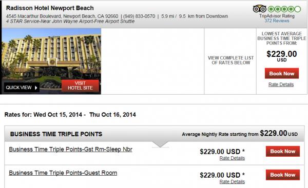 Club Carlson Triple Points Americas Fall 2014 Radisson Newport Beach BIZ