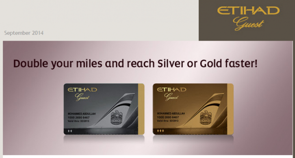 Etihad Guest Silver Gold Double Award Tier Miles Fall 2014