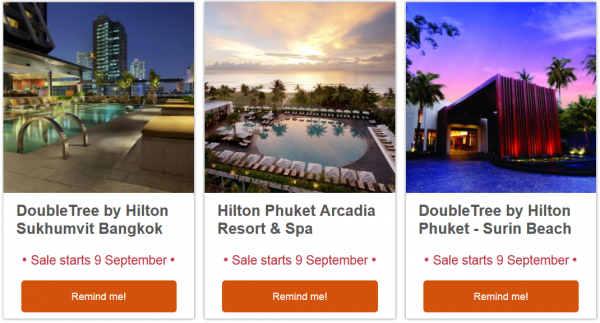 Hilton HHonors Thailand September Flash Sale Email 2