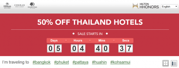 Hilton HHonors Thailand September Flash Sale