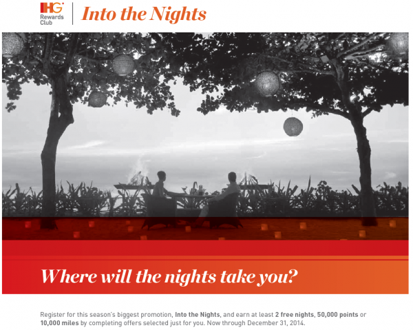 "IHG Rewards Club ""Into The Nights"" Promotion Earn At Least 2 Free Nights, 50,000 Bonus Points Or 10,000 Airlines Miles September 4 – December 31, 2014"