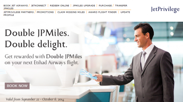 Jet Airways JetPrivilege Double Miles Etihad