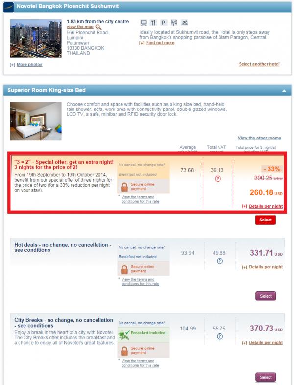 Le Club Accorhotels 3 = 2 Sale Fall 2014 Novotel Bangkok Phloenchit