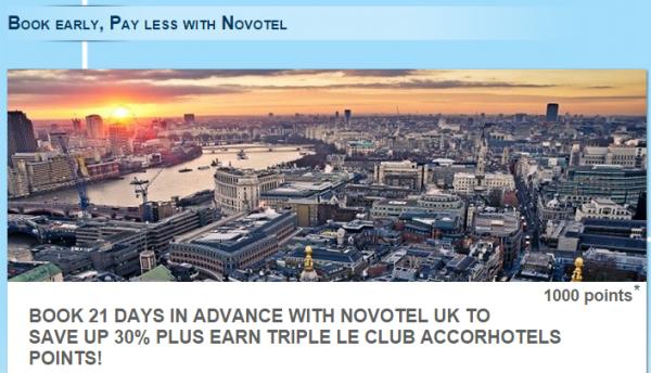 Le Club Accorhotels UK Novotel 1,000 Bonus Points Offer Fall 2014