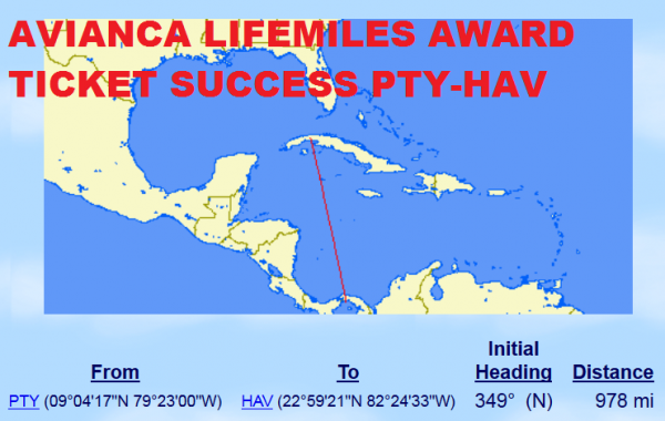 LifeMiles Awards Ticket Success PTY-HAV