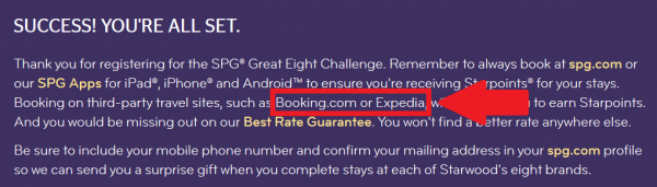 SPG Great Eight Challenge Confirmation