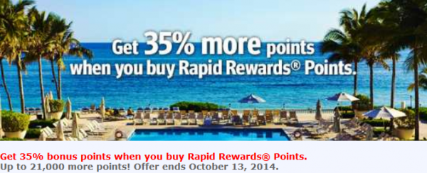 Southwest Airlines Rapid Rewards Buy Points Promo September 2014