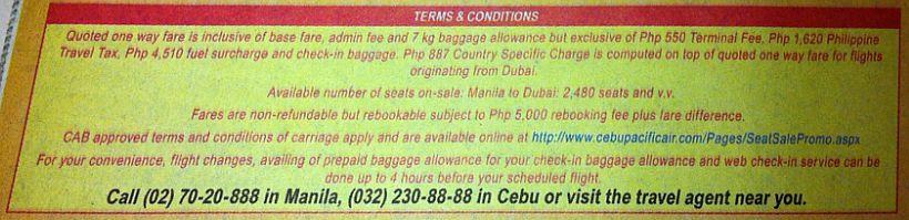 Cebu Pacific Dubai Terms and Conditions
