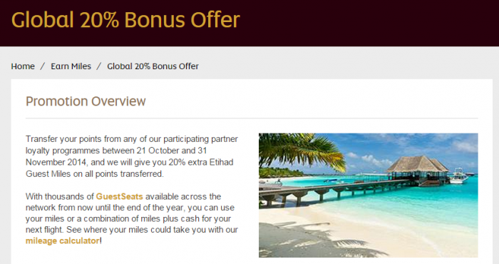 Etihad Airways Etihad Guest 20 Percent Points To Miles Transfer Bonus Fall 2014