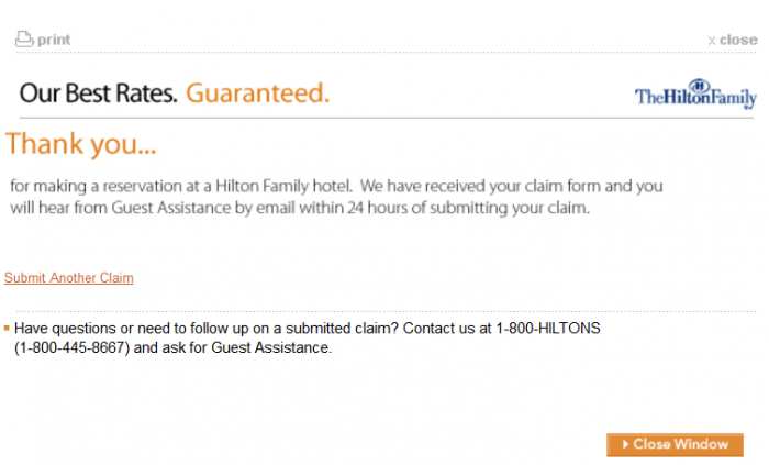 Hilton Hhonors Best Rate Guarantee Confirmation