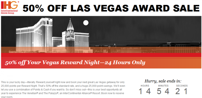 IHG Rewards Club Las Vegas Flash Award Sale Venetian Palazzo