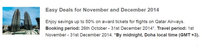 Qatar Airways Privilege Club November December 2014 Easy Deals