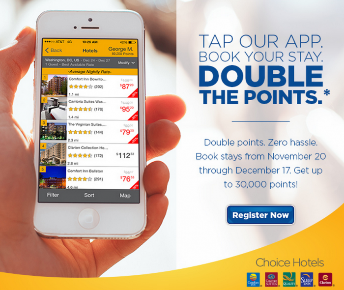 Choice Hotels Choice Privileges Double Points App