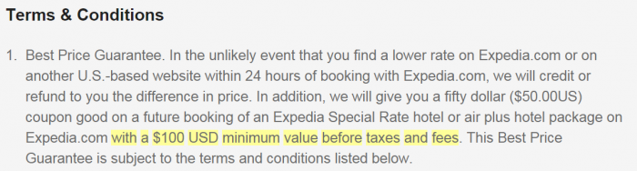 Expedia Best Rate Guarantee Watered Down