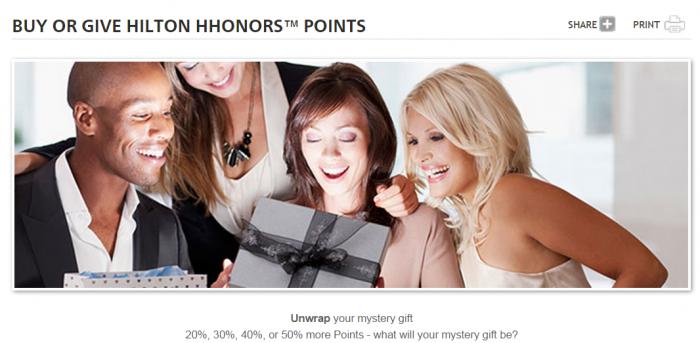 Hilton HHonors Buy & Gift Points Mystery Bonus November 25 - December 22 2014