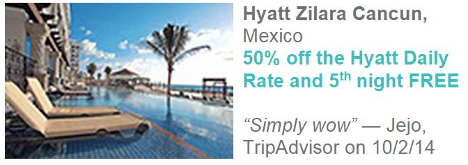 Hyatt Gold Passport Zilara Ziva 50 Percent Off Daily Rate Hyatt Zilara Cancun