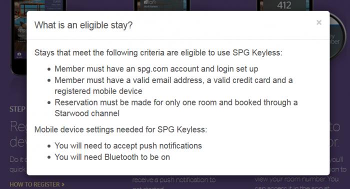 SPG Keyless Eligible Stay