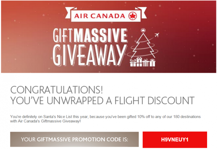Canadian airline christmas gift giveaway promotion