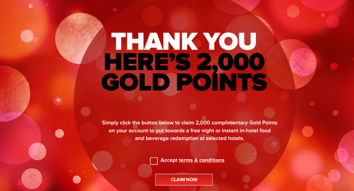 Club Carlson 2,000 to 10,000 Free Gold Points