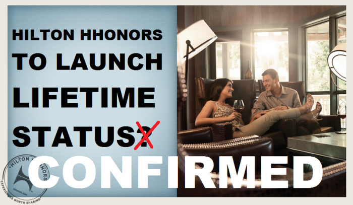 Confirmed Hilton HHonors Lifetime Status Coming