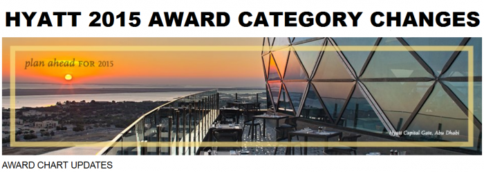 Hyatt Gold Passport Award Category Changes 2015