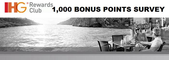 IHG Rewards Club 1,000 Points For A Survey