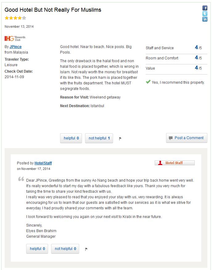 IHG Rewards Club Hotel Reviews Holiday Inn Krabi Muslim