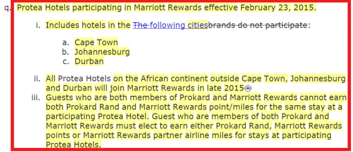 Marriott Rewards Terms and Conditions Update Protea