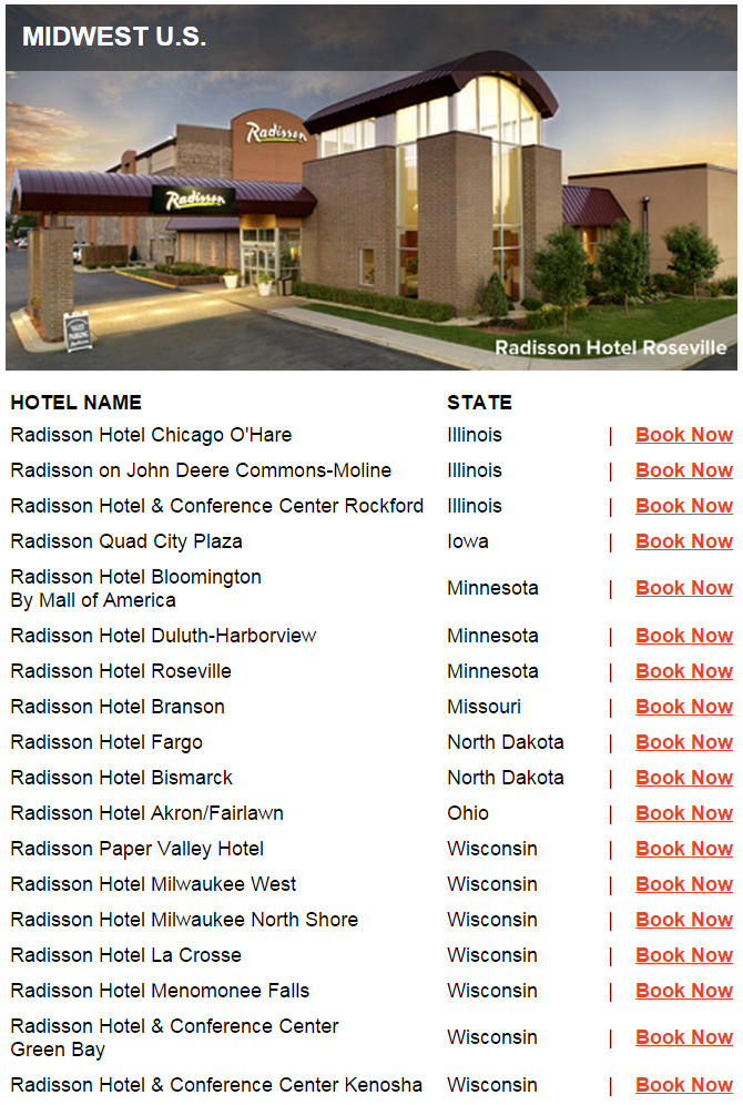 Club Carlson Mega Points 2015 Midwest US