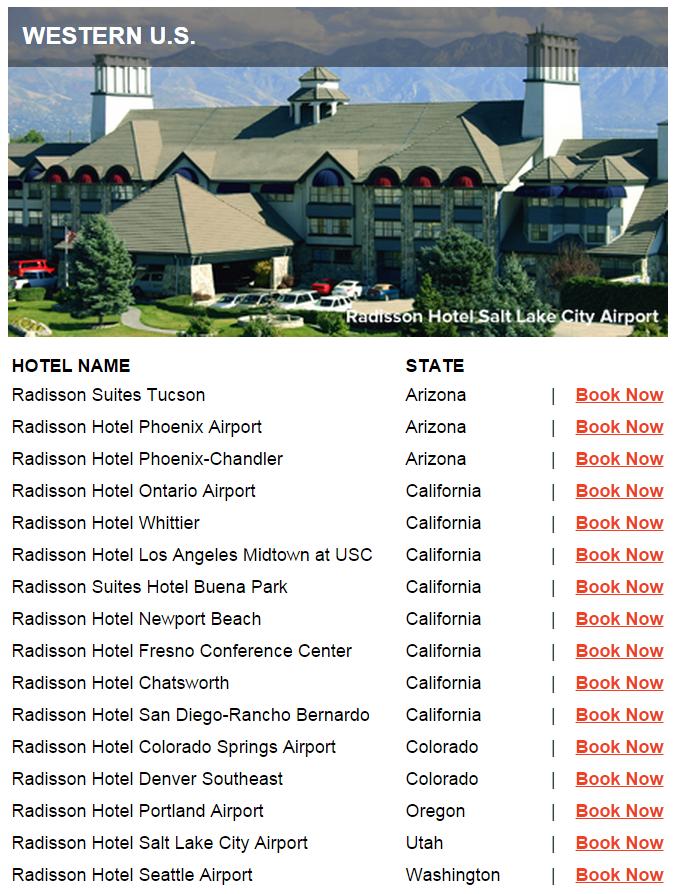 Club Carlson Mega Points 2015 Western US
