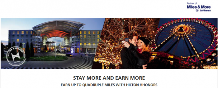 Hilton HHonors Lufthansa Miles&More Up To Quadruple Miles January 1 - March 31 2015